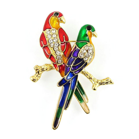 trendy colorful two bird on branch crystal brooch pin for women