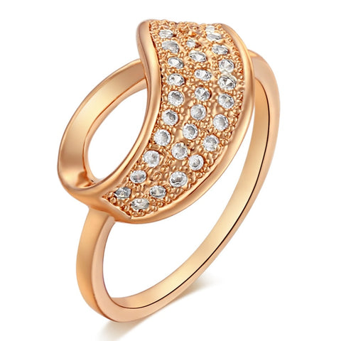 trendy micro pave zircon geometric shape ring for women