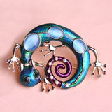 big blue enamel esmaltes lizard brooch pin for women