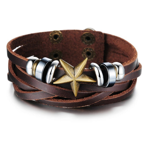 brown leather star design bracelet & bangle for Men