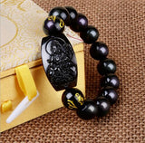 natural obsidian carved buddha amulet beads bracelet