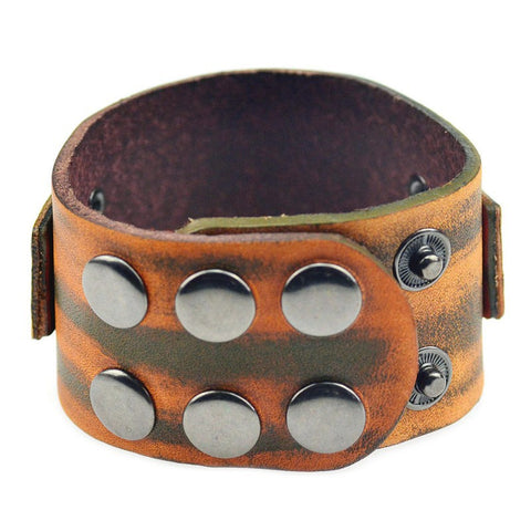 punk style genuine brown leather wide cuff bracelet & bangle