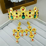 vintage green crystal golden hair tiara imperial crown & earring set