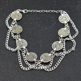 vintage multilayer coins chain anklet for women