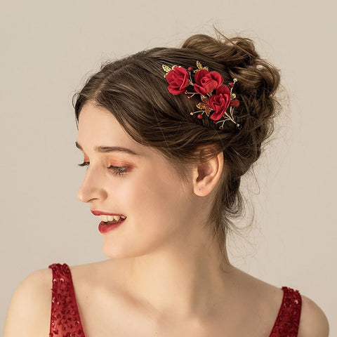 romantic red rose flowers with pearl hair pins for women