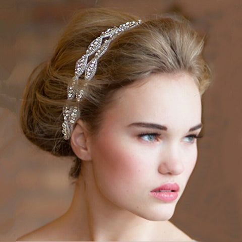 vintage double crystal ribbon hair band tiara for women