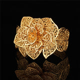 gold color flower big bracelet cuff and ring set for women