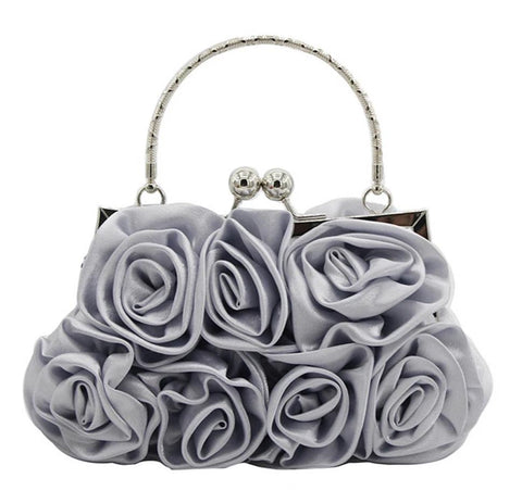 romantic satin rose flowers shaped evening hand bag for women