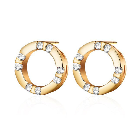 elegant round shaped cz crystal & metal stud earrings for women