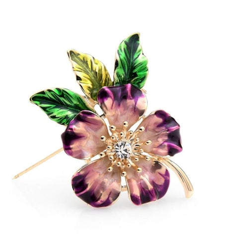 trendy colorful enamel & crystal flowers shaped brooch pin