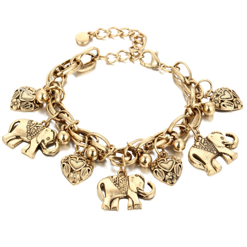 bohemian elephant & heart bracelet for women