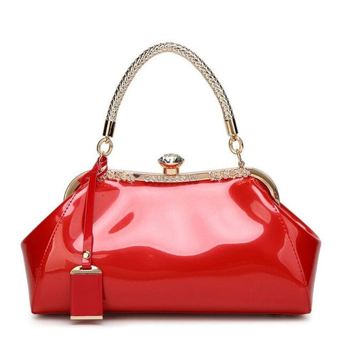 elegant solid color leather clutch evening hand bag for women