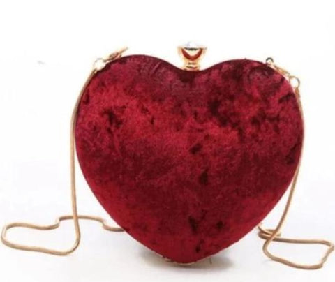 romantic red furry heart shaped evening shoulder bag for women