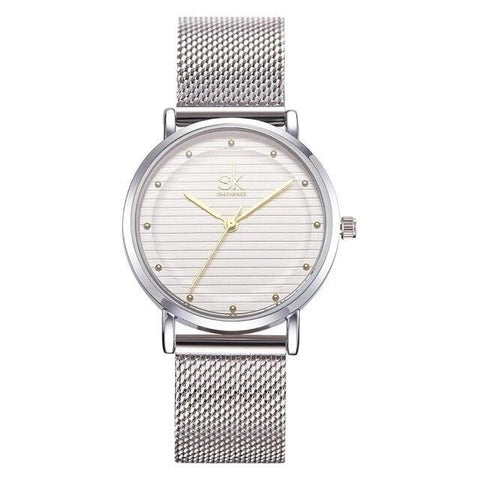 elegant minimal dial steel mesh band quartz watch for women