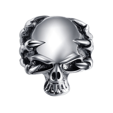 punk style silver color skull ring