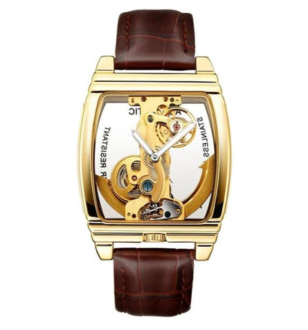 elegant mechanical skeleton dial leather wrist watch for men