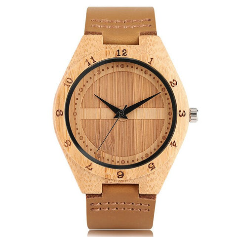 trendy minimalist pattern wooden case leather band quartz watch
