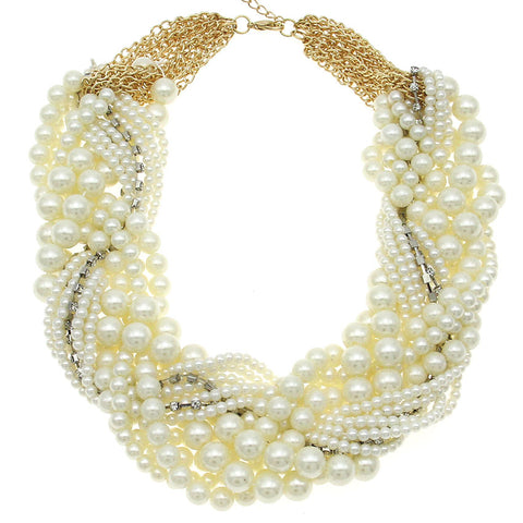 imitation pearl white rhinestones beads choker necklace