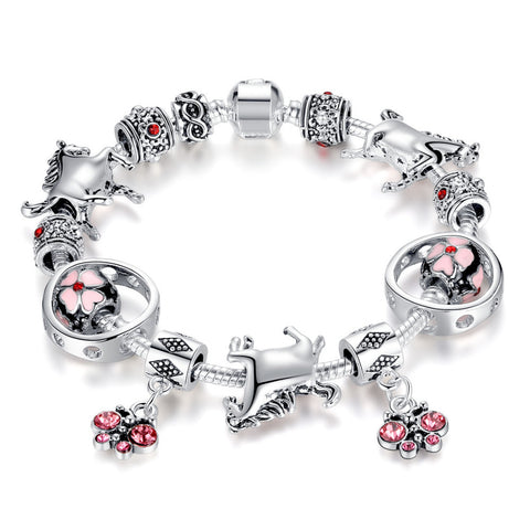 crystal butterfly cherry blossom beads silver horse bracelet
