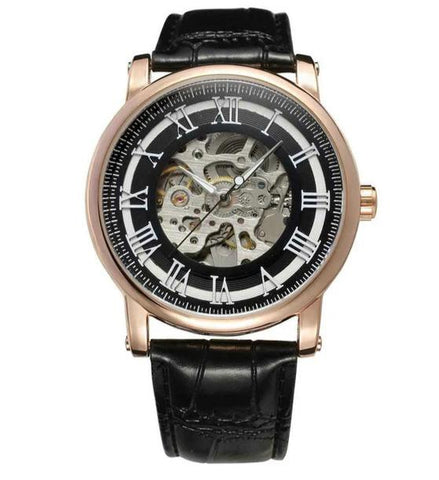 elegant roman numbers skeleton dial wrist watch for men