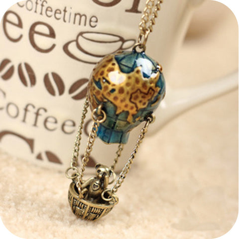 flying balloon panda pendant long necklace for women