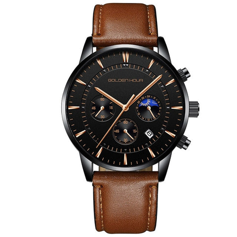 elegant chronograph dial leather band wrist watch for men
