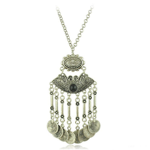 gypsy silver color tassels carving coins necklace for women