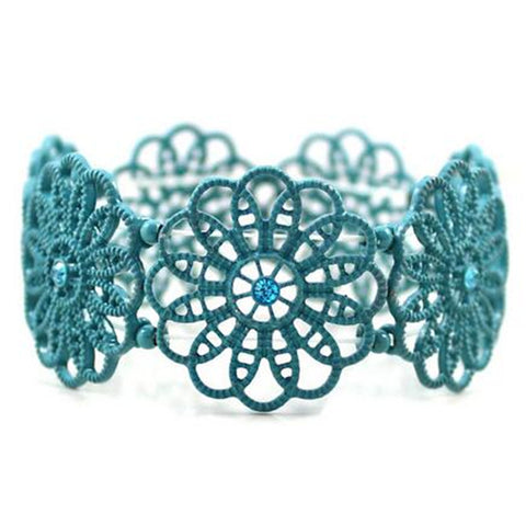 blue hollow flowers elastic bracelet for women
