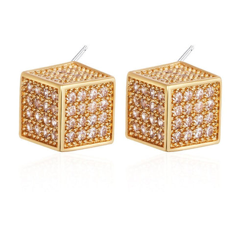 luxury cube shape full cz crystal stud earrings for women