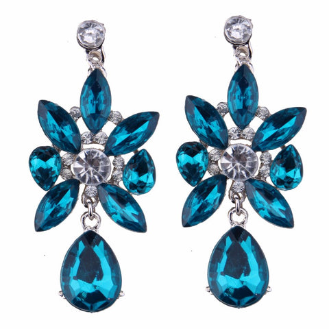 luxury flower shaped glass beads drop earrings for women