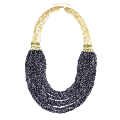 handmade multilayer bead chain statement necklace for women