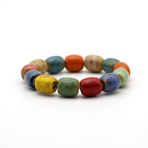 bohemia heart shaped colorful ceramic stone beads bracelet for women