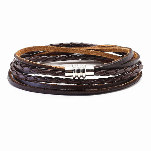 trendy multilayer genuine leather cuff bracelet for men