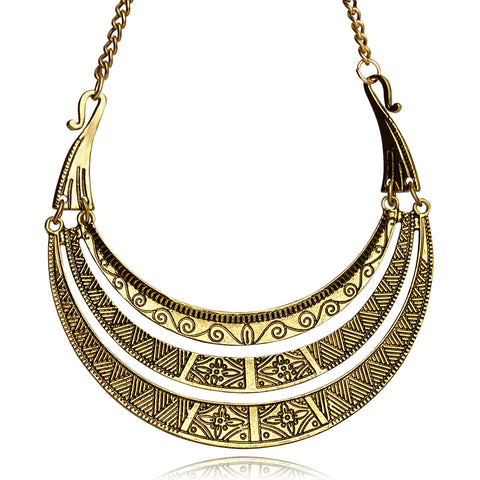 ethnic golden plating multilayer choker necklace for women