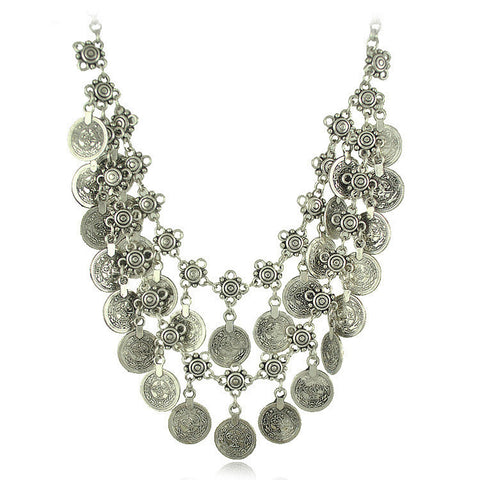bohemian antique silver double layer coin necklace for women