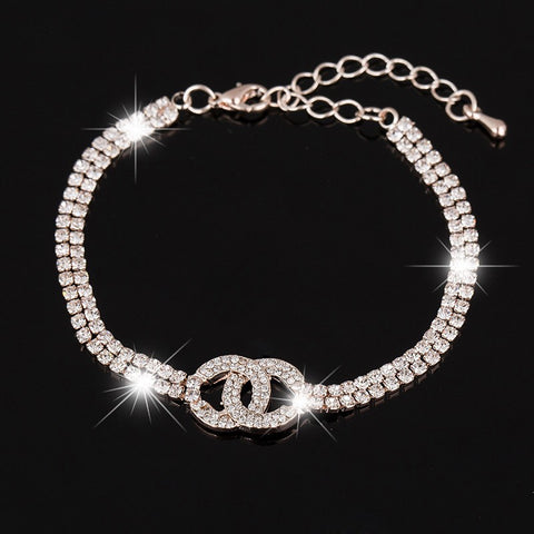 clear crystal 2 rows chain bracelet for women