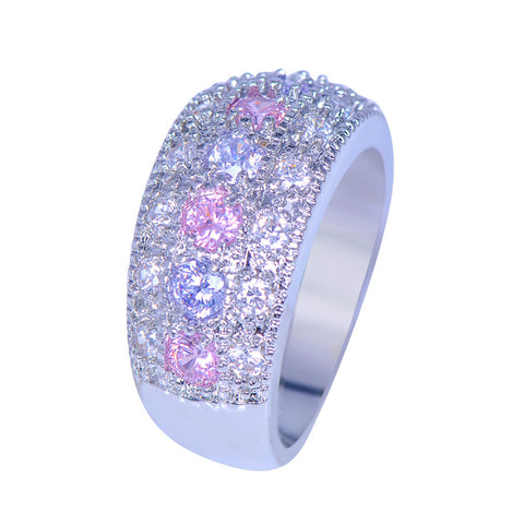 luxury 925 silver filled pink purple zircon crystal ring for women