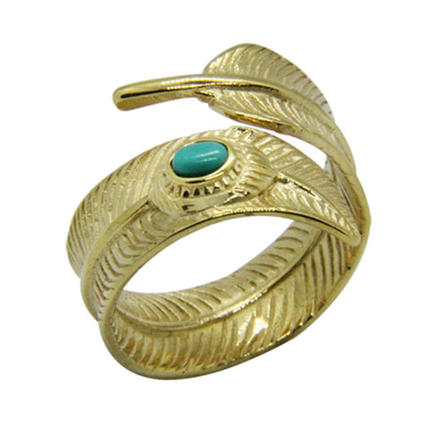trendy feather shaped stainless steel & blue stone ring