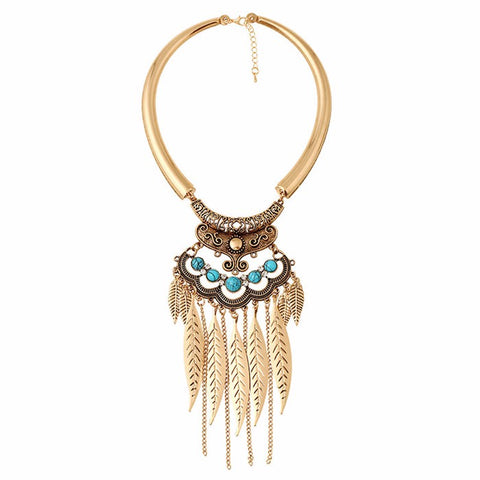 ethnic leaf tassel choker necklace for women
