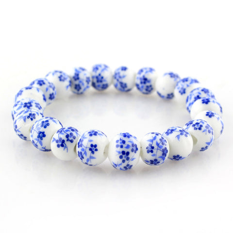 blue and white porcelain beads bracelet for women