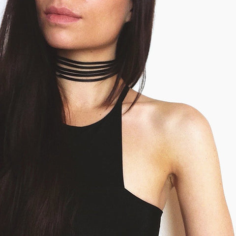 punk style black multilayer leather choker necklace for women