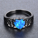 cute blue fire opal heart hollow black color ring for women