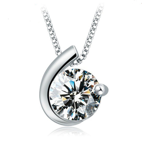 silver plated crystal zircon pendant necklace for women