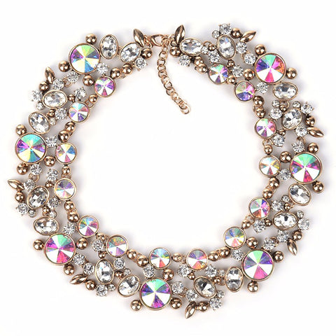 luxury colorful crystal choker statement necklace for women