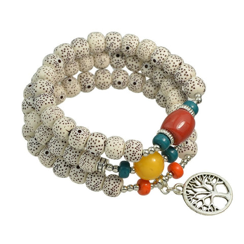 ethnic style chain bracelet with beads & charm for women