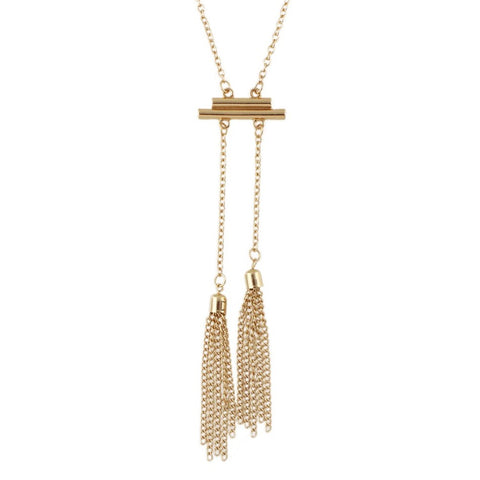 gold/silver color long chain tassel necklace for women
