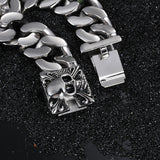 stainless steel skull chain link bracelet for men