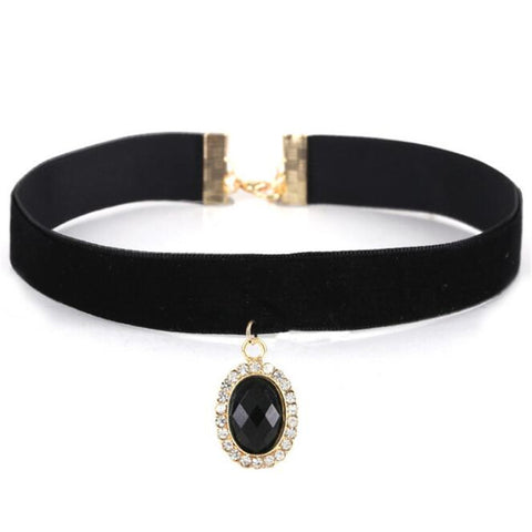 black acrylic gem pendant velvet choker necklace for women