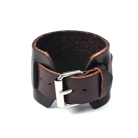 punk style 2 layer genuine cow leather belt bracelet