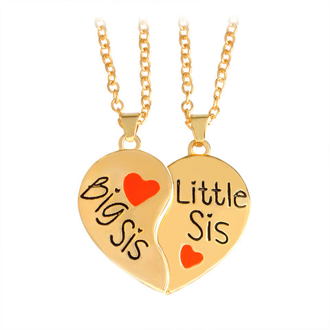 "2 pcs/set ""Big sis Little sis"" red heart shaped pendant necklaces"